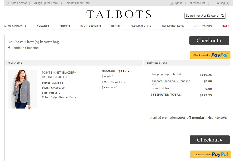 Talbots coupon code