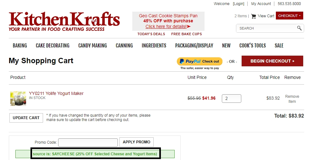 Kitchen Krafts offers promo codes often. On average, Kitchen Krafts offers 24 codes or coupons per month. Check this page often, or follow Kitchen Krafts (hit the follow button up top) to keep updated on their latest discount codes. Check for Kitchen Krafts' promo code exclusions.4/4(2).