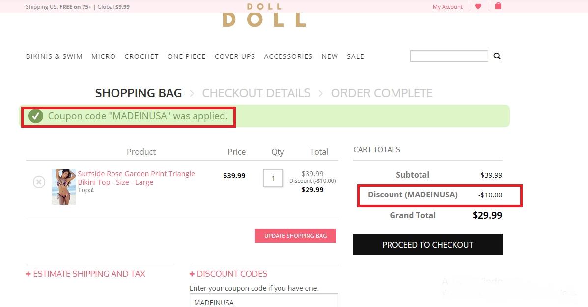 doll swimwear coupon code