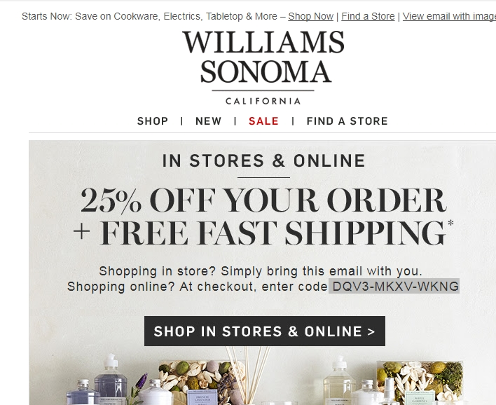 photo relating to Williams Sonoma Coupons Printable called William sonoma discount coupons code / The place toward acquire newspaper