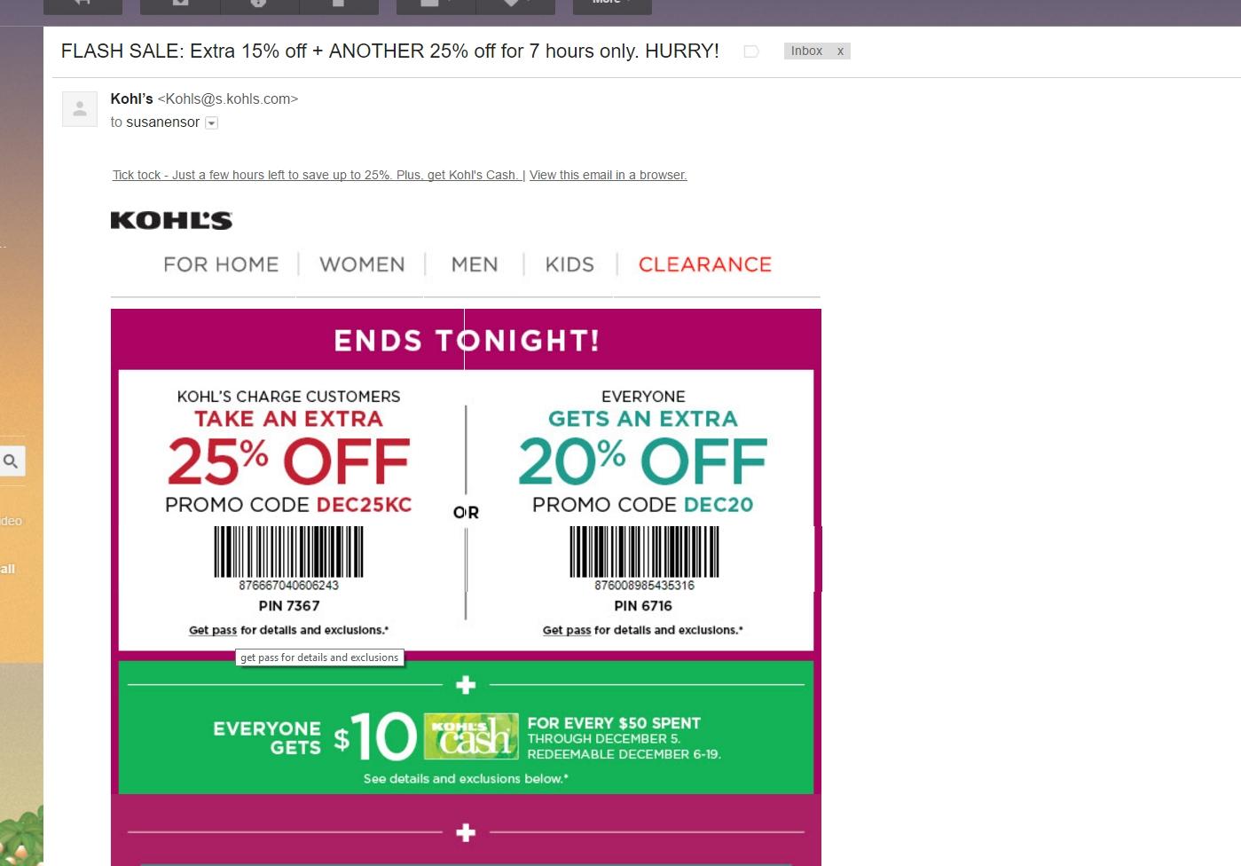 Kohls 30 off coupon code kohls card