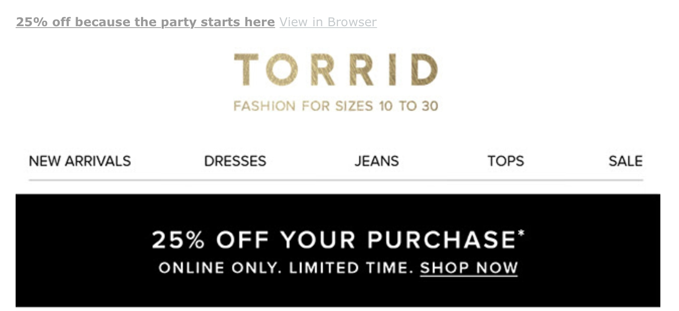 Torrid coupon code