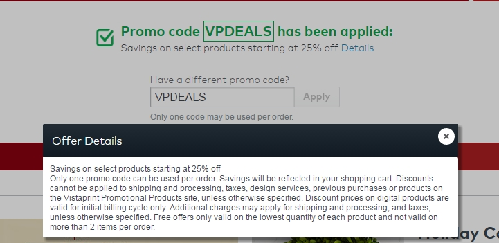 50% f Vistaprint Coupon Code 2017 Screenshot Verified
