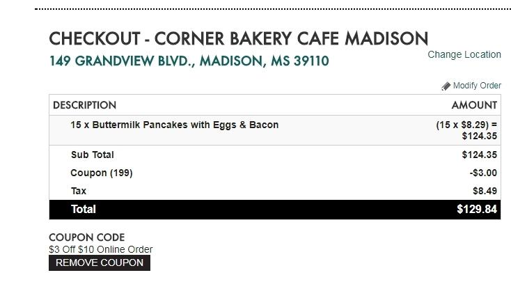 Corner bakery online ordering coupon