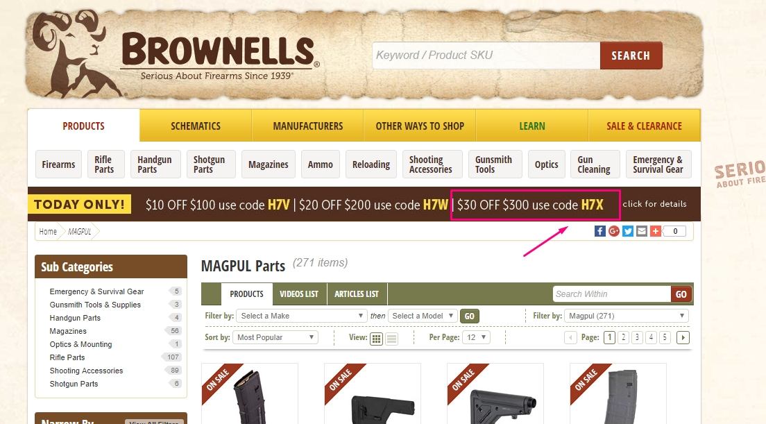Brownells is the world's largest retailer of gun parts and accessories. For over 70 years, Brownells has been supplying thousands of gun parts, supplies and tools for gun anthusiasts of all ages.
