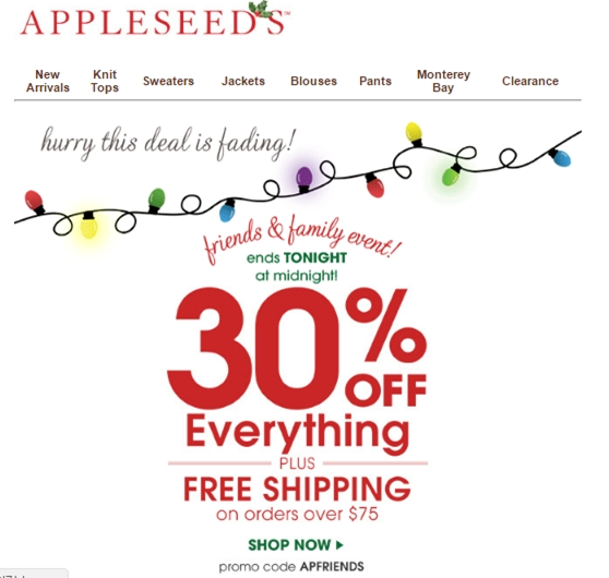 Discount coupons for appleseeds