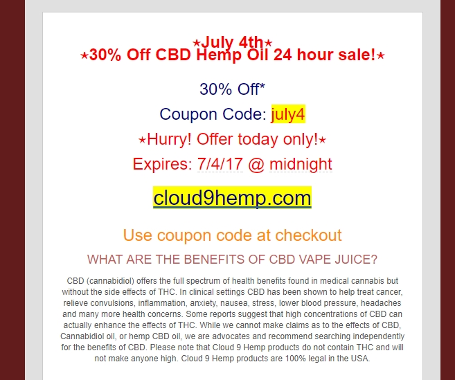 Cloud 9 coupon code