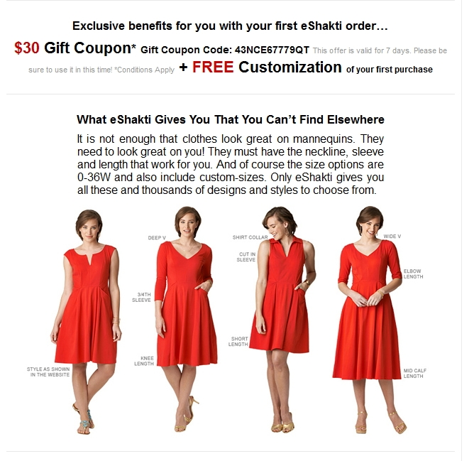 Dec 16,  · eShakti Coupon Codes (Free Shipping Discount) December 16, giftadmin eShakti is the New York based company that offer hand crafted women's fashion apparel.