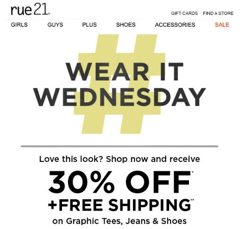 picture about Rue 21 Printable Coupons identified as Rue 21 free of charge delivery discount coupons / Breakfast inside bismarck nd