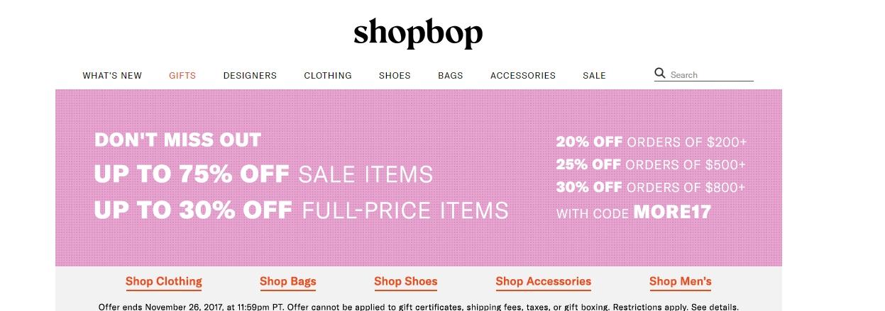 Shop bop coupon code