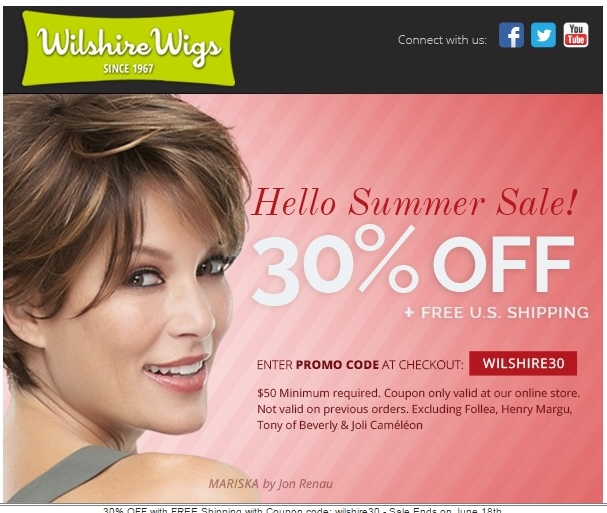 Wilshire Wigs + Coupon Code 30