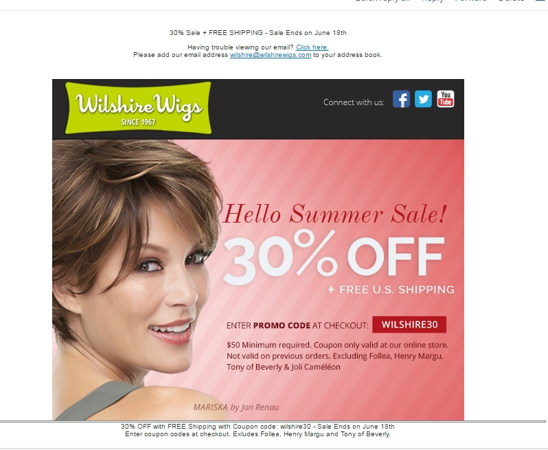 Wilshire Wigs + Coupon Code 10