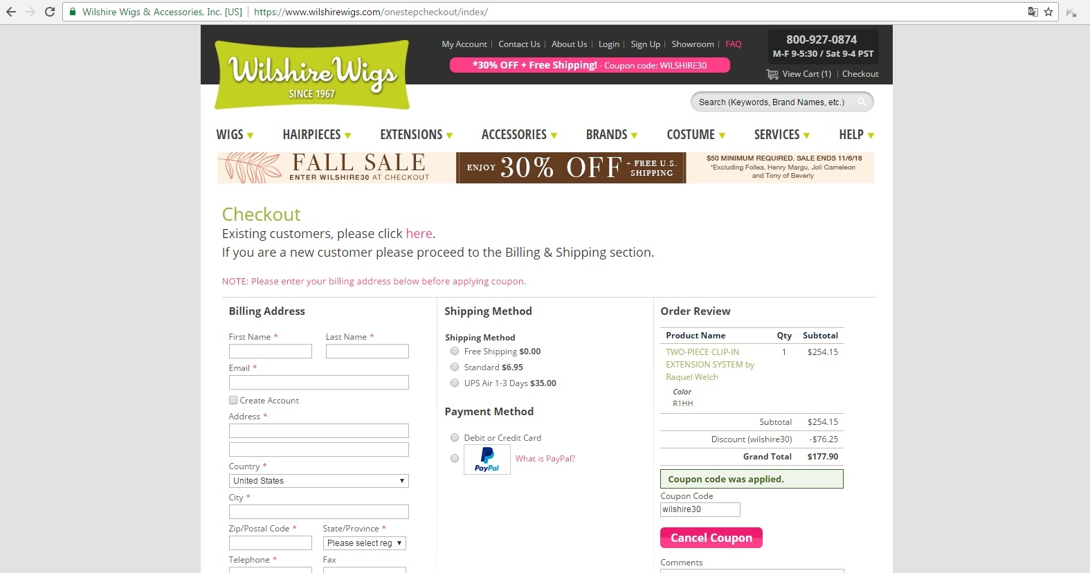 Wilshire wigs discount coupon code