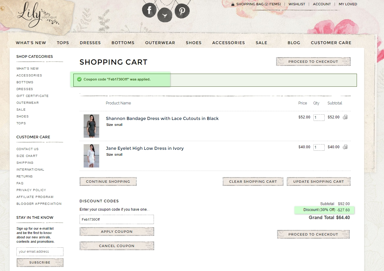 Lily boutique coupon code 2018