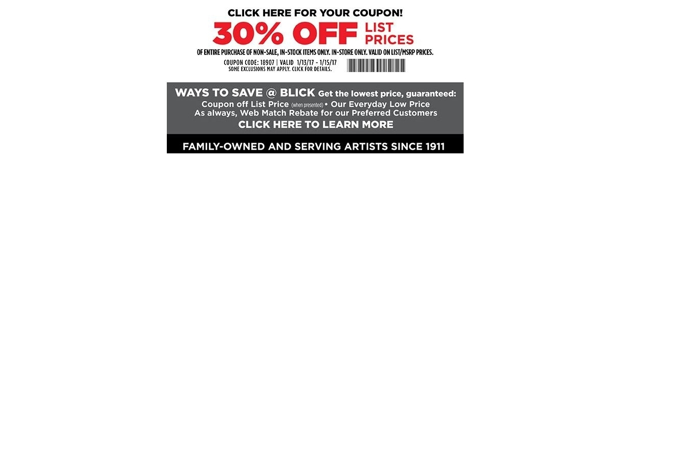 Blick coupons 40 off