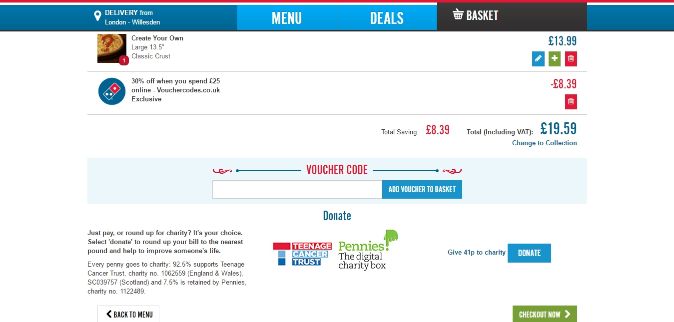 Dominos 30 off coupon code uk