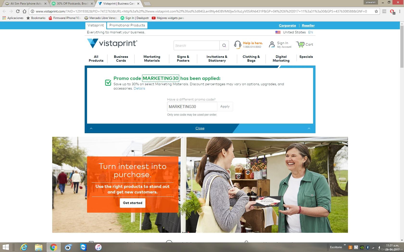 Website coupon vistaprint