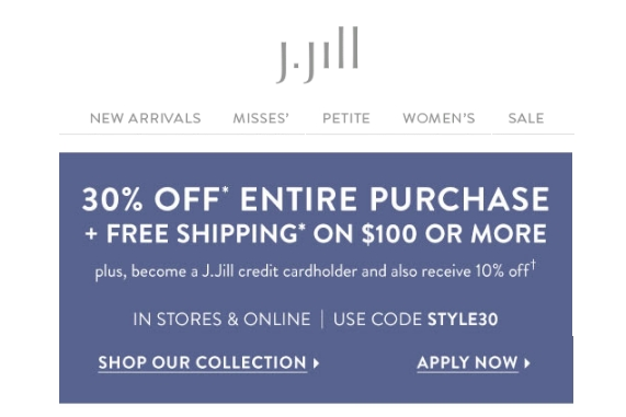 J jill coupon code free shipping