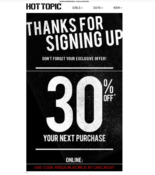 These Hot Topic promo codes have expired but may still work. 35% Off code. Up to 35% Off w/ Purchase. Save 35% off $75, 30% off $50, 20% off everything else at techriverku3.gq Coupon cannot be combined with other offers. Some exclusions apply. ORE Get Promo Code Expired 10/28/