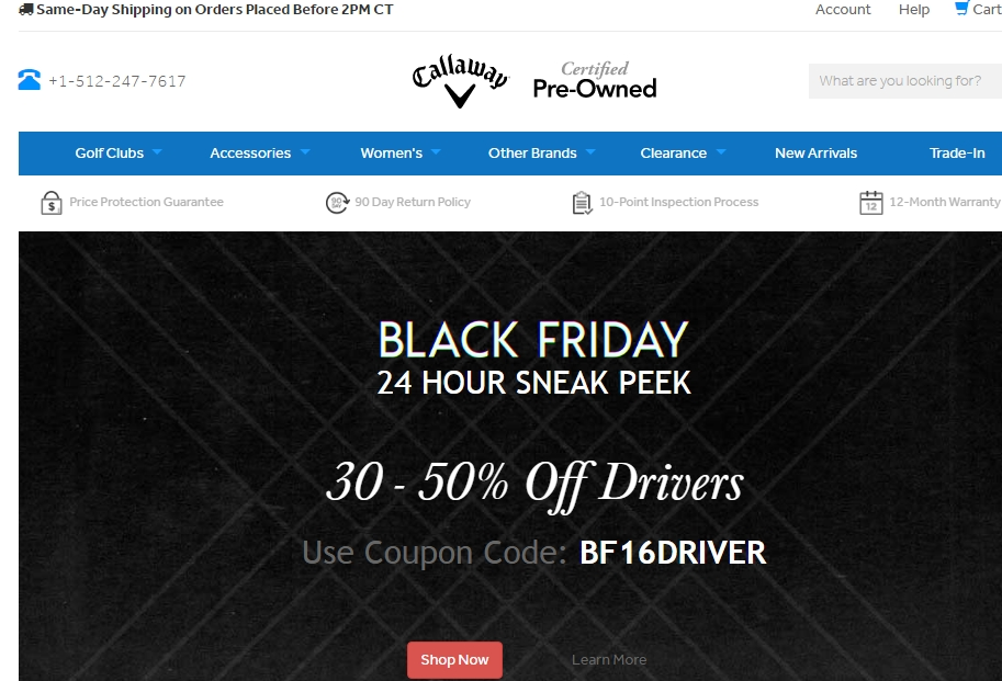 Callaway golf preowned coupon code