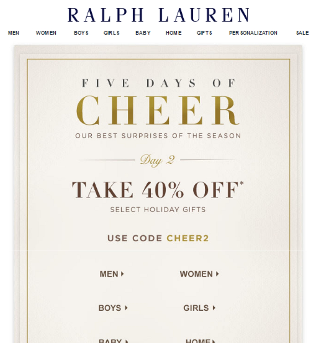Ralph lauren coupon code 20