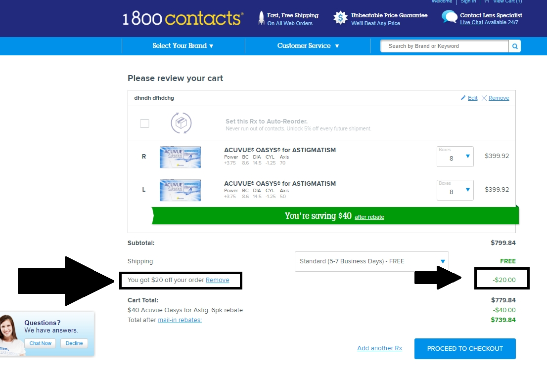 1800 contacts coupon code