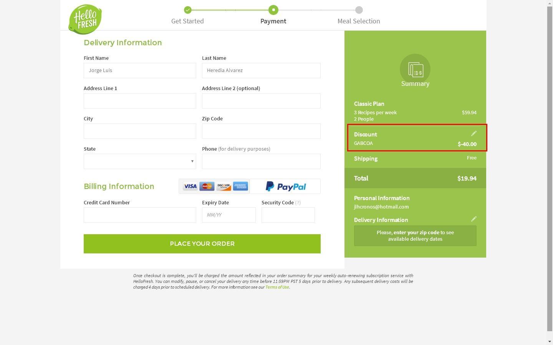 Hellofresh coupon code