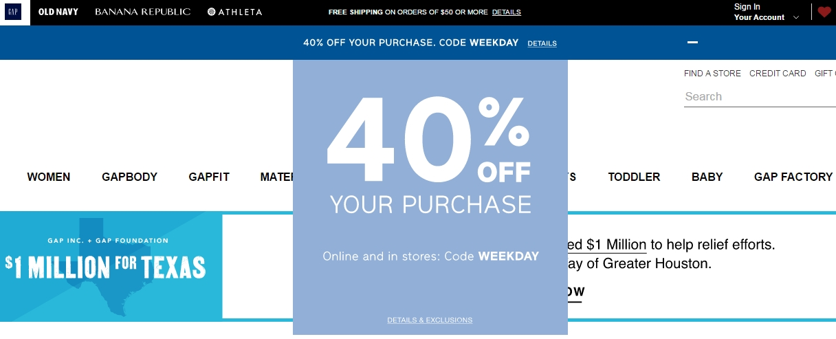 Gap coupon codes in store