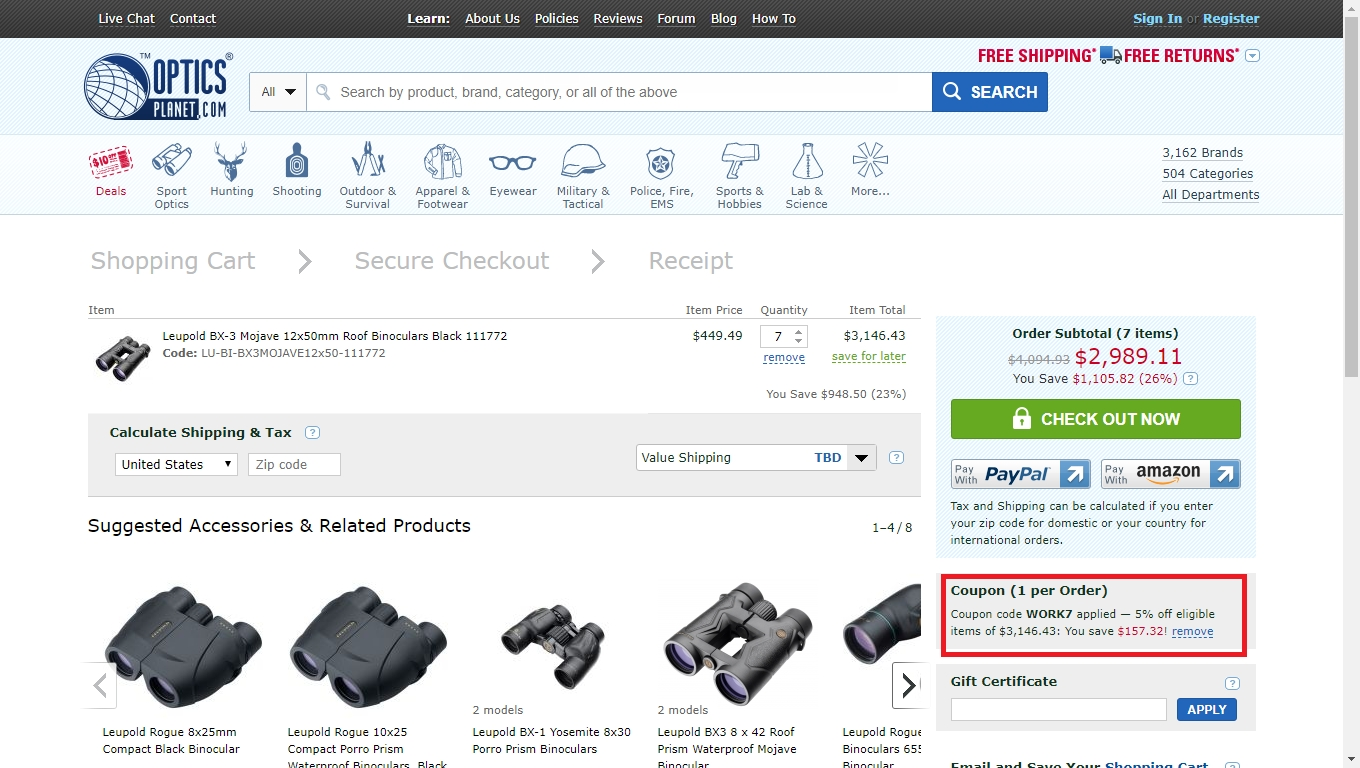 About OpticsPlanet Coupons We currently have 4 active OpticsPlanet Coupon codes. The most recent OpticsPlanet Coupon for
