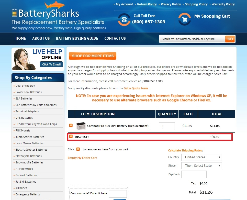 Batterysharks coupon code