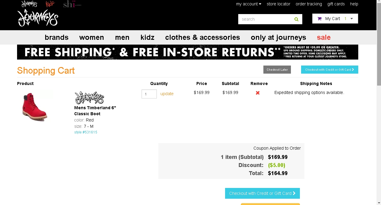 Journeys coupon code