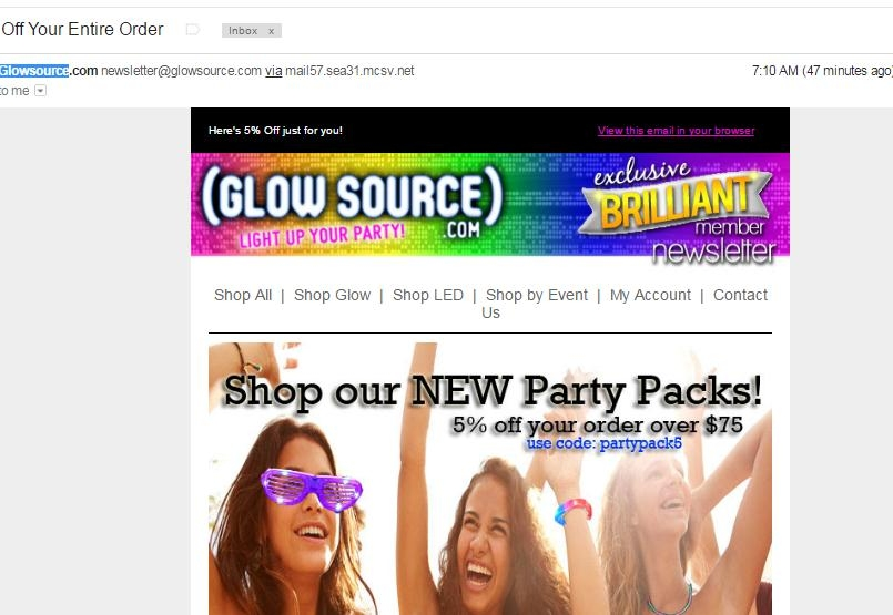 Glow Source sells glow sticks and other glowing objects, perfect for lighting up any party and even as a gift for curious kids. As well as one of the biggest ranges of glow products, Glow Source also offer some of the cheapest prices anywhere on the internet.