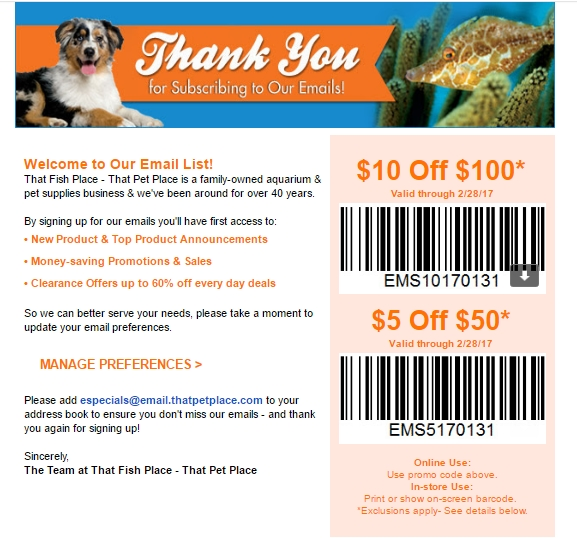 30 off that pet place coupon code 2017 all feb 2017 for That fish place coupon