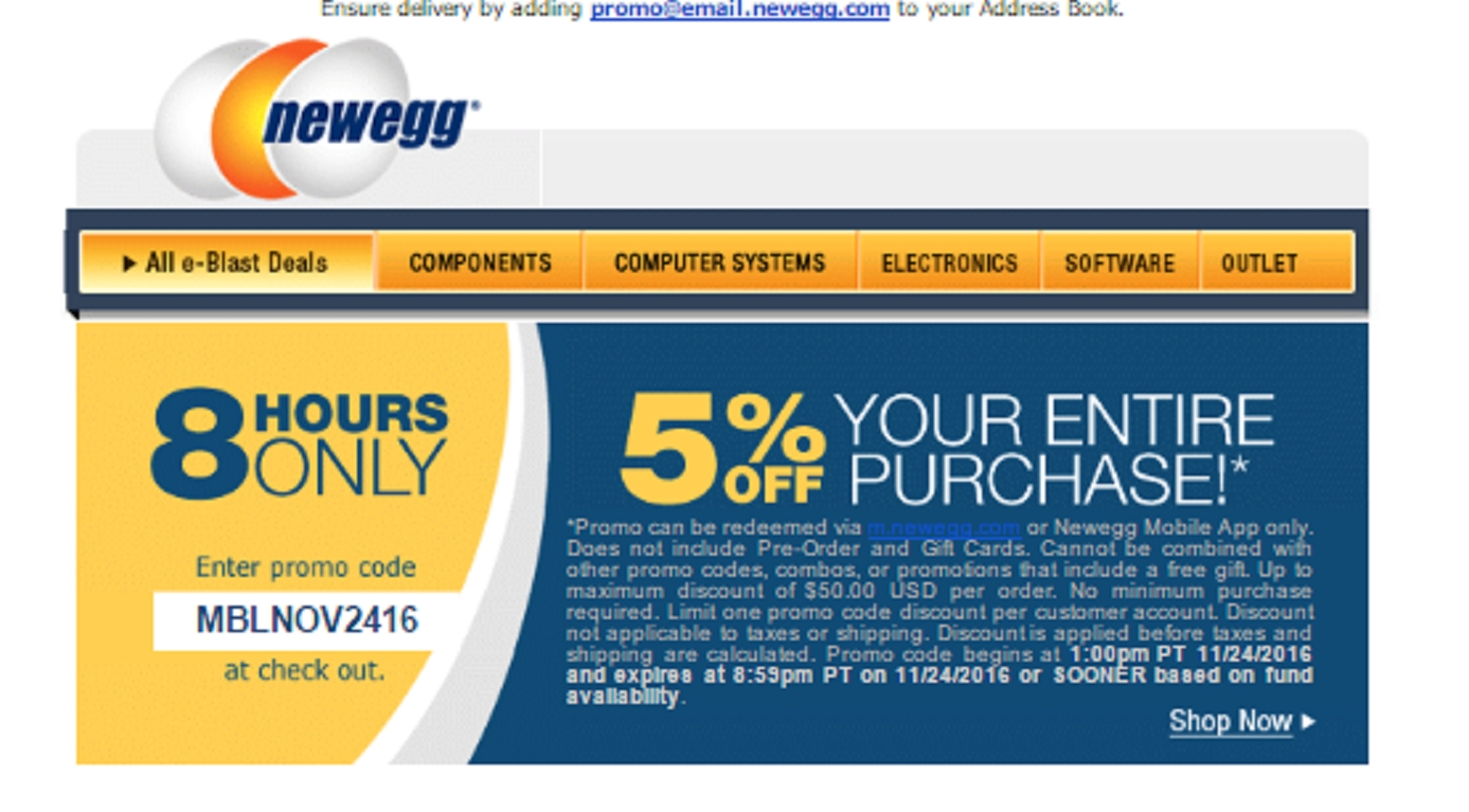 Newegg promo code 10% off entire order Apply 10% off entire order code and get 10% off all items in your cart. 10% off entire order is rare code. Mostly 10% off coupon codes on item wise only. Newegg 15% off new customers: for new customers, get 15% off with code. New customers can use code at checkout and get 15% off discount. 15%.