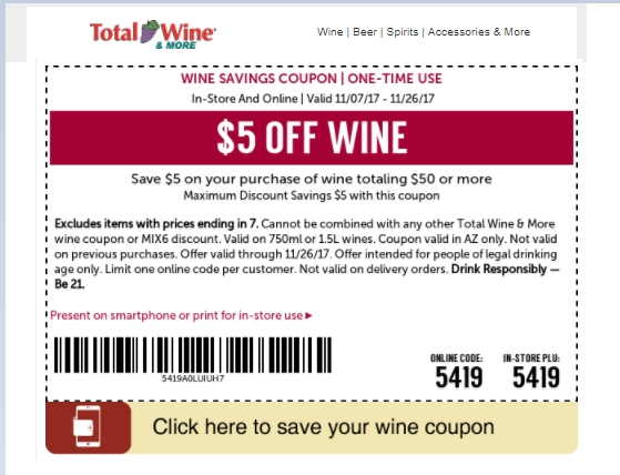 Thank you for visiting PromoCodeWatch on your hunt for Total Wine promo codes. We hope that one of our 3 Total Wine coupons for December, helped you save on your purchase. You can rest assured that we've searched everywhere to find all available Total Wine holiday and Christmas deals.