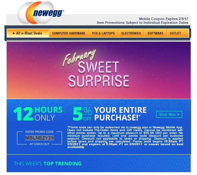 Find Newegg Promo Codes, Coupons, Discounts, Promotions and Free Shipping with the best price on PC parts, Laptops, Video Cards, Memory, SSD and Electronics customers may purchase up to five (5) pieces of the same product at the promo code price as long as all pieces are purchased in the same order. Only one promo code will be applied per.