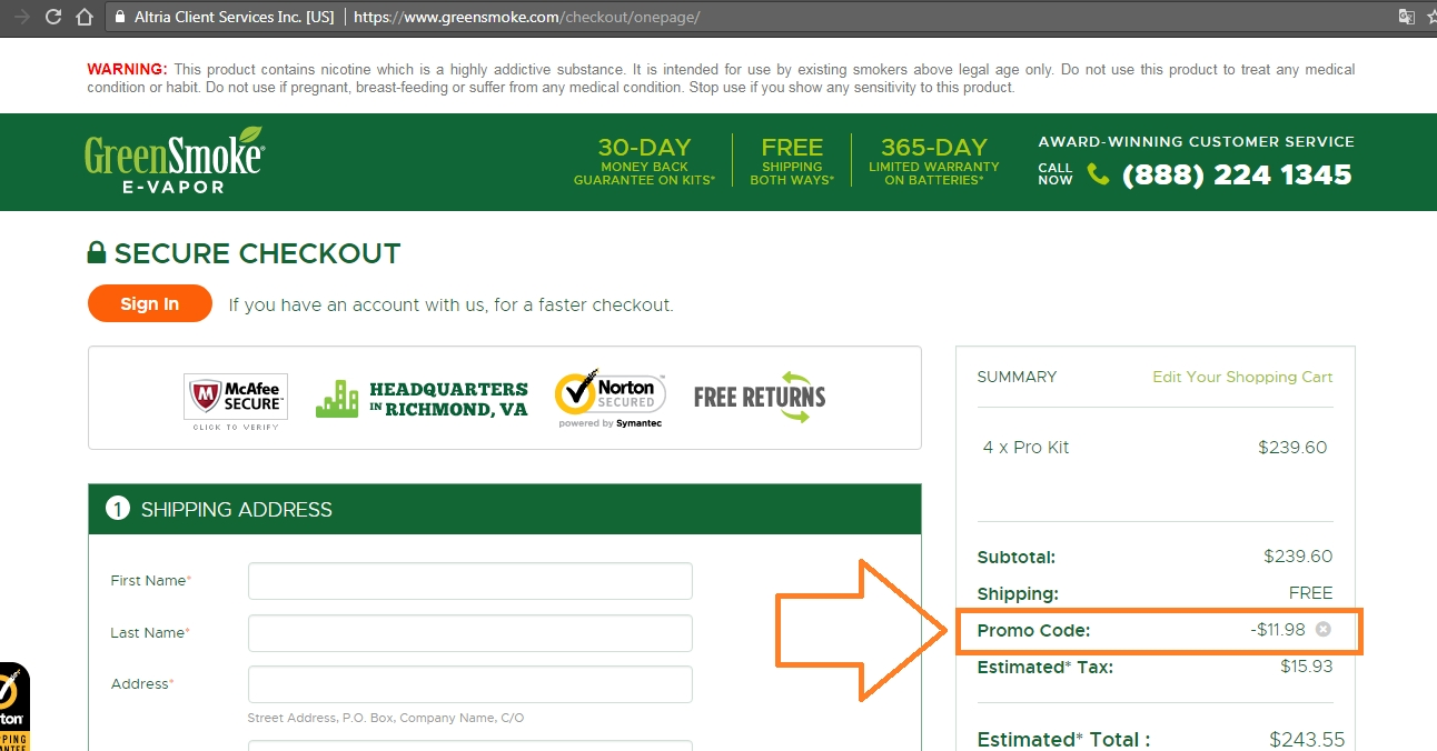 Green smoke coupon codes