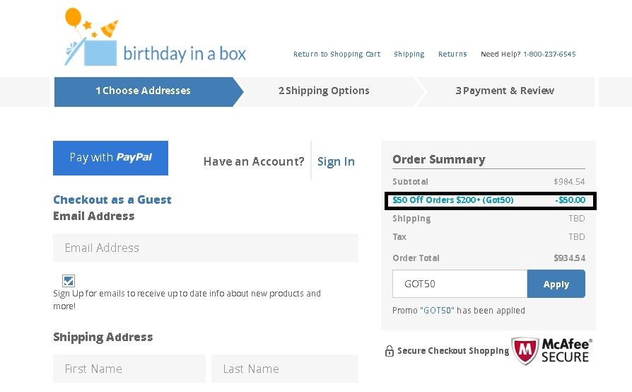 Birthday in a box discount coupons