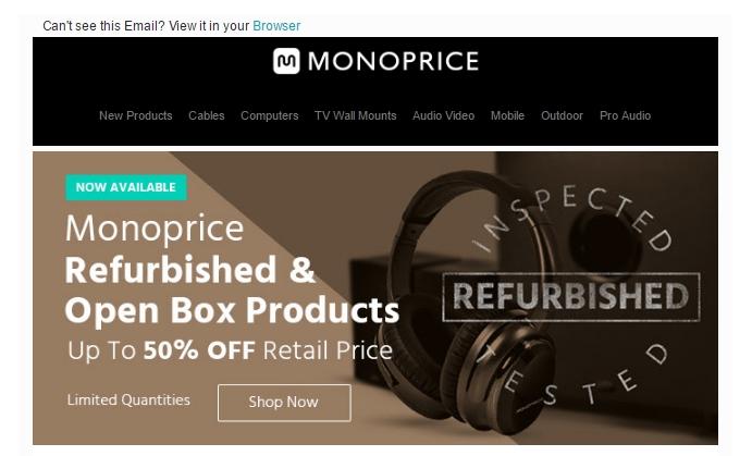 Monoprice coupon code free shipping