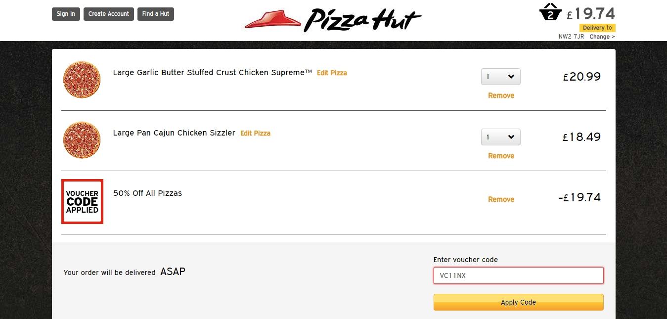 Pizza hut coupon code 20 percent off