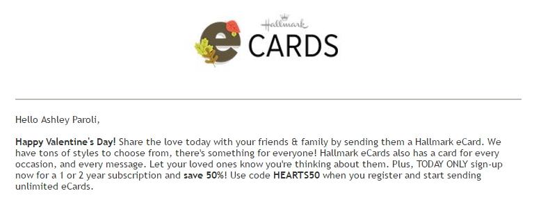 Hallmark ecard coupon code