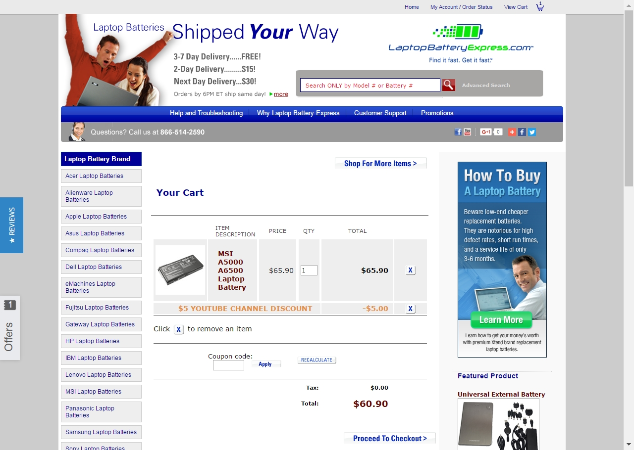 Coupon code laptop battery express