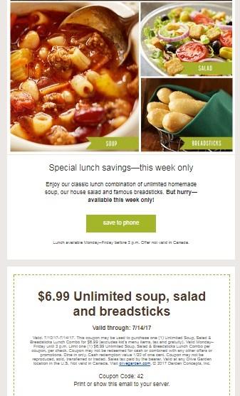 Current Olive Garden Menu: 30% Off Olive Garden Coupon Code