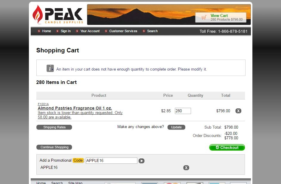 For Peak Candle Supplies we currently have 0 coupons and 0 deals. Our users can save with our coupons on average about $ Todays best offer is. If you can't find a coupon or a deal for you product then sign up for alerts and you will get updates on every new coupon added for Peak Candle .
