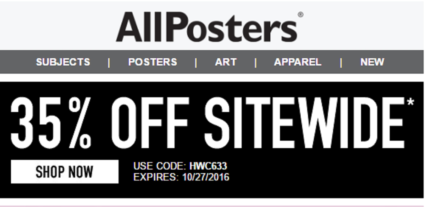 Allposters discount coupons