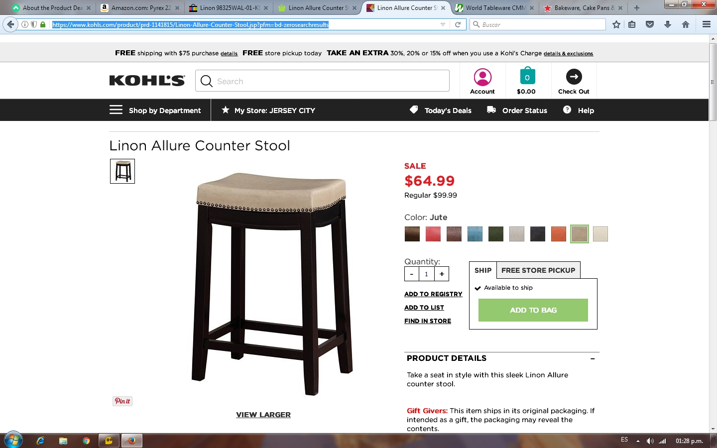 Linon Allure Counter Stool Red Linon Allure Counter Stool