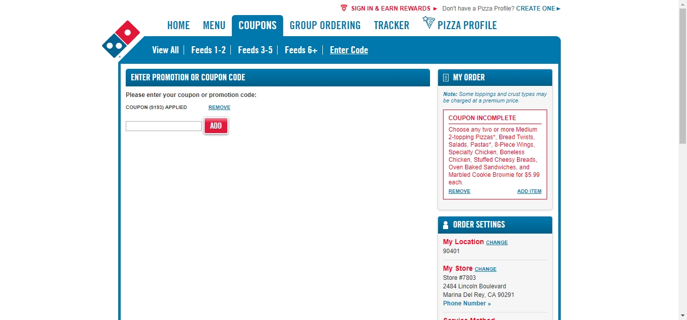 Enter coupon or promotion code dominos