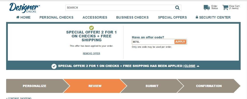 Designerchecks.com coupon code