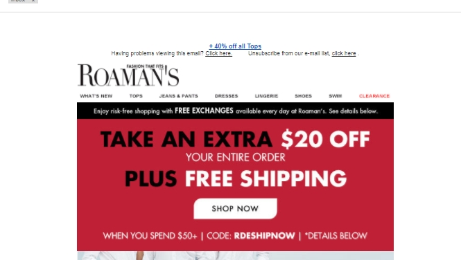 Extra $50 Off $ Or More + Free Shipping on $50+ with Roamans Platinum Credit Card Excludes items shipped directly from third party brands, Alex Evenings, Ashley Graham, Castaluna, Ellos, Fabulous Furs, Goddess, national brand shoes and Ultimate Tees.