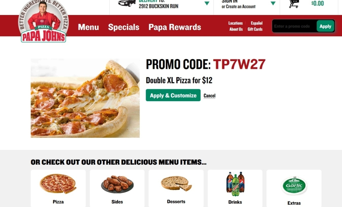 Apply this Papa John's Promo Code to Get a 33% Off Discount on Regular Menu Price Items Like Pizza, Breadsticks, Soda, and More. Apply the code to get 50% Off Regular Menu Price at Papa John's from Papa Johns until Sunday, 16 Dec Add comment. Terms & Conditions. % Success Top Papa Johns Coupons & Promo codes. Offer Description.